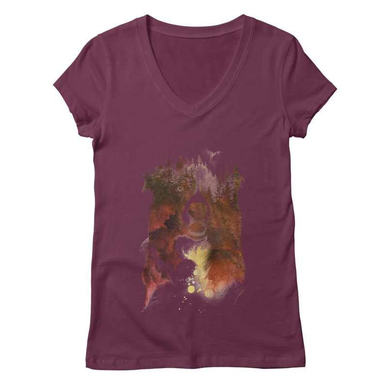One night in the forest Women's V-Neck by Astronaut's Artist Shop