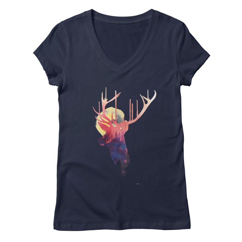 The burning sun Women's V-Neck by Astronaut's Artist Shop
