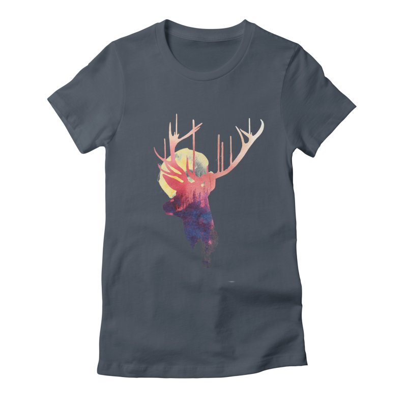 The burning sun Women's Fitted T-Shirt by Astronaut's Artist Shop
