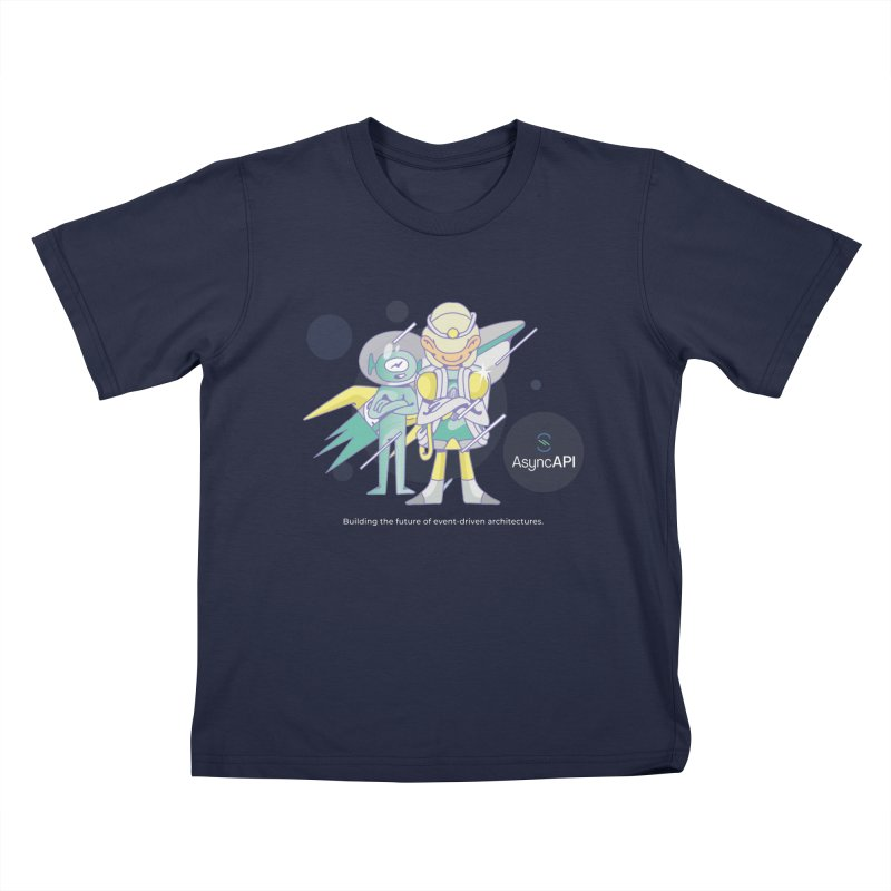 Eve & Chan: AsyncAPI 2.0.0 launch in Kids T-Shirt Navy by AsyncAPI official shop