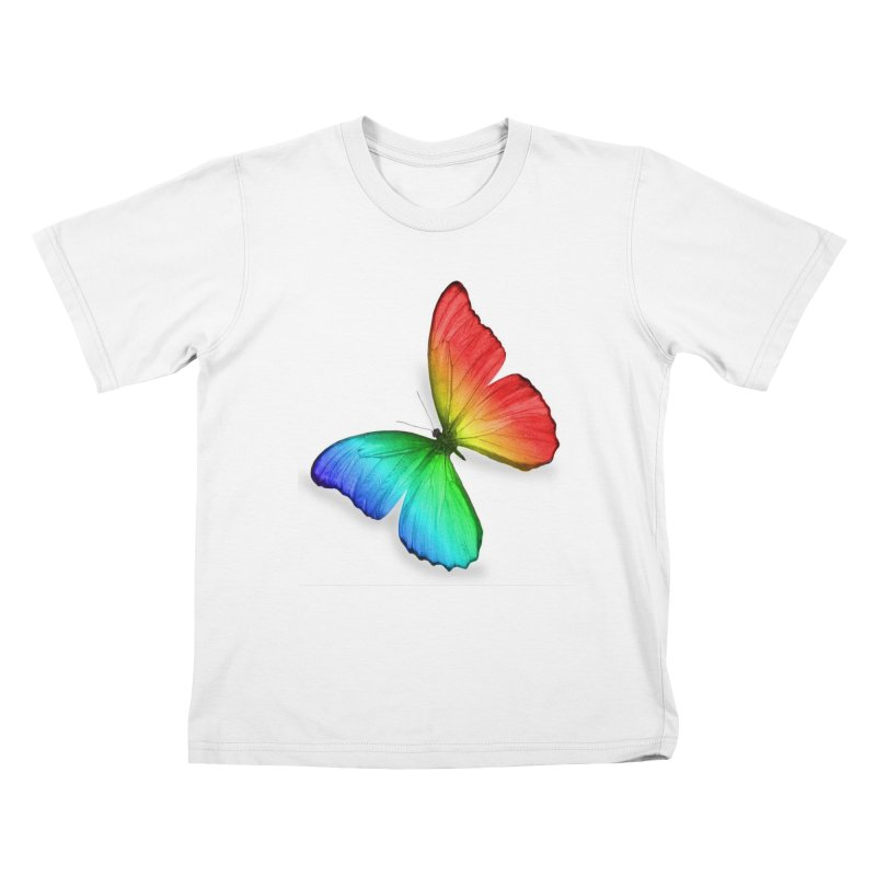 Rainbow Butterfly Kids T-Shirt by Feed me tacos!