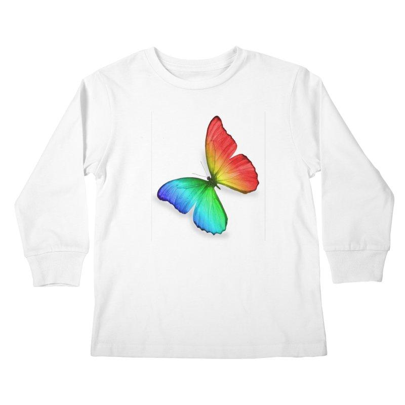 Rainbow Butterfly Kids Longsleeve T-Shirt by Feed me tacos!