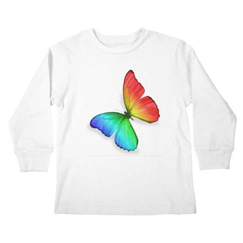 Rainbow Butterfly in Kids Longsleeve T-Shirt White by Feed me tacos!