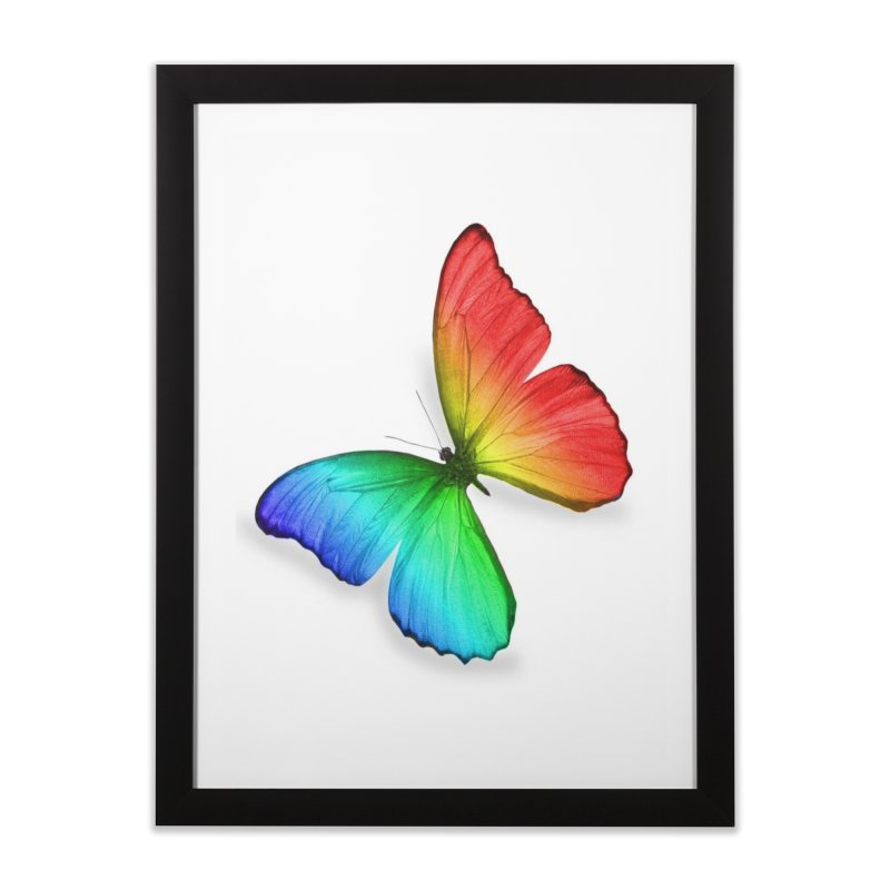 Rainbow Butterfly Home Framed Fine Art Print by Feed me tacos!