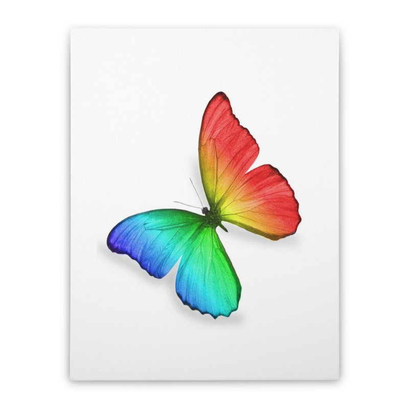 Rainbow Butterfly Home Stretched Canvas by Feed me tacos!