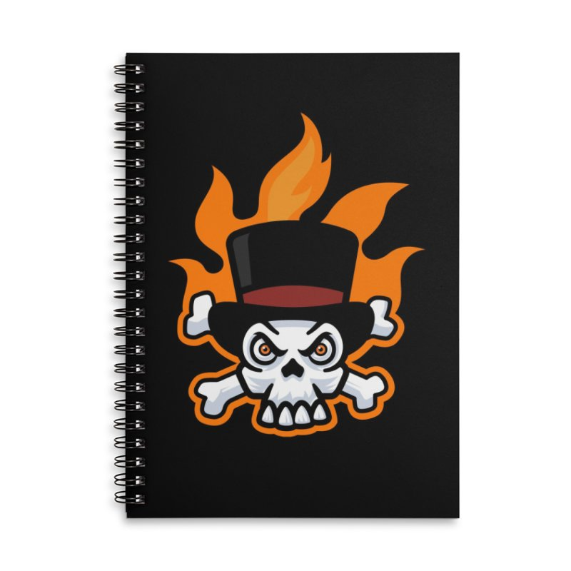 Flaming Skull and Bones in Tophat Accessories Notebook by Atomic Lotus Apparel