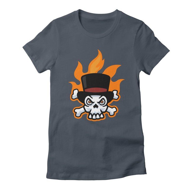 Flaming Skull and Bones in Tophat Women's T-Shirt by Atomic Lotus Apparel