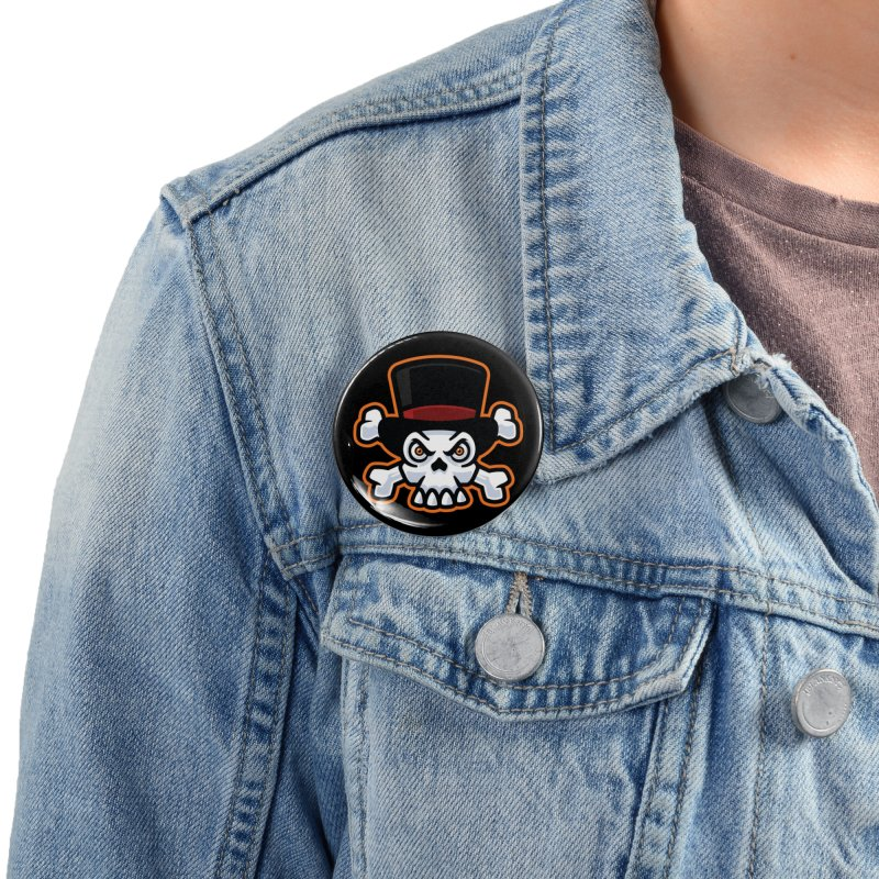 Skull in Tophat Accessories Button by Atomic Lotus Apparel