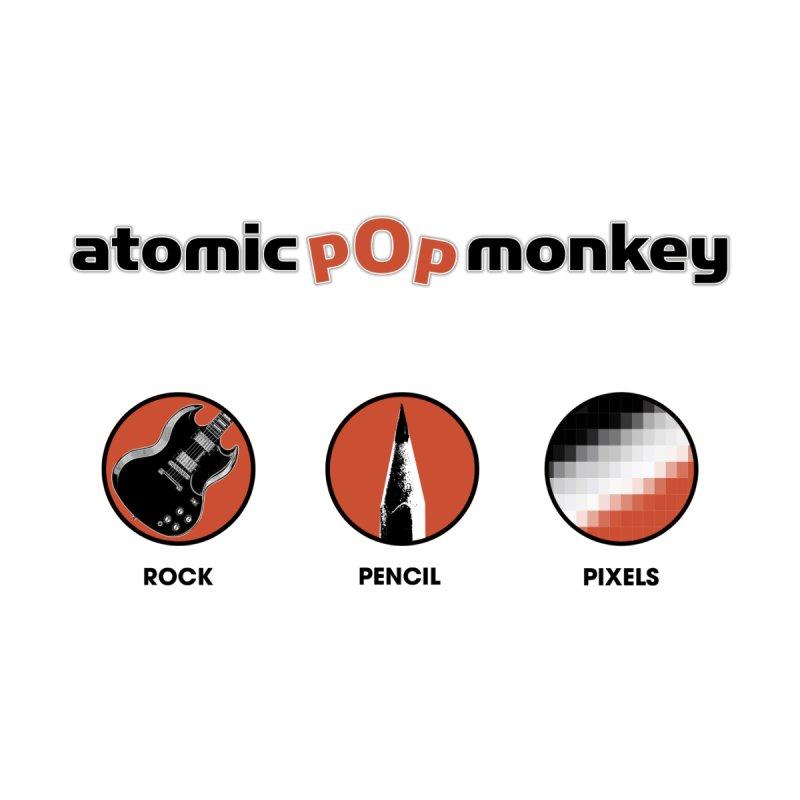 Atomic Pop Monkey - Rock / Pencil / Pixels Men's Pullover Hoody by atomicpopmonkey's Artist Shop