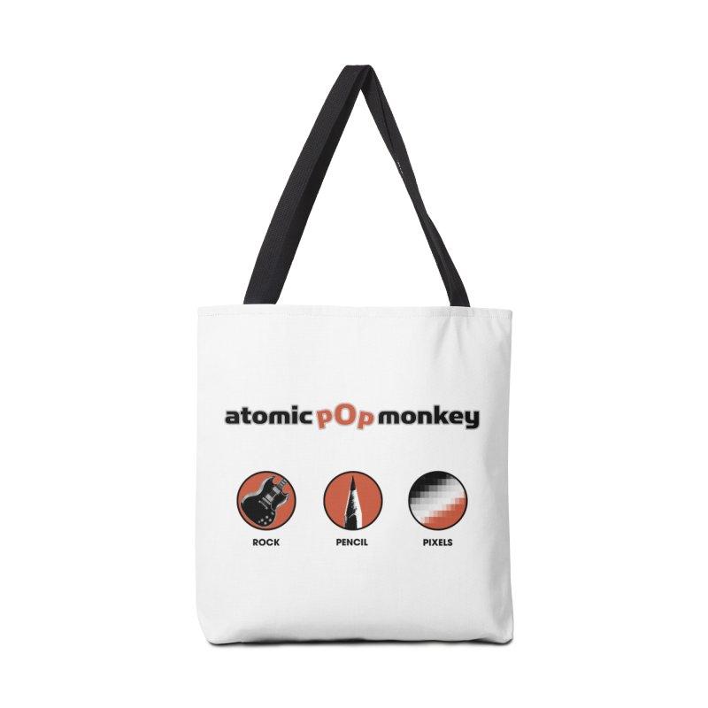 Atomic Pop Monkey - Rock / Pencil / Pixels Accessories Bag by atomicpopmonkey's Artist Shop