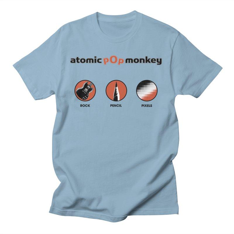 Atomic Pop Monkey - Rock / Pencil / Pixels Men's T-Shirt by atomicpopmonkey's Artist Shop