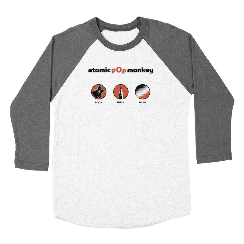 Atomic Pop Monkey - Rock / Pencil / Pixels Women's Longsleeve T-Shirt by atomicpopmonkey's Artist Shop