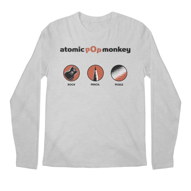Atomic Pop Monkey - Rock / Pencil / Pixels Men's Longsleeve T-Shirt by atomicpopmonkey's Artist Shop