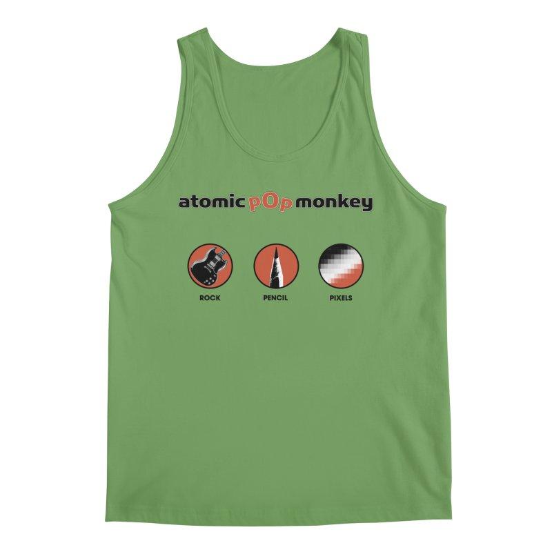 Atomic Pop Monkey - Rock / Pencil / Pixels Men's Tank by atomicpopmonkey's Artist Shop