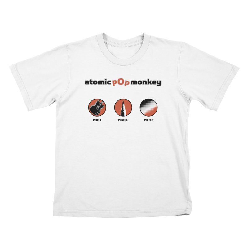 Atomic Pop Monkey - Rock / Pencil / Pixels Kids T-Shirt by atomicpopmonkey's Artist Shop