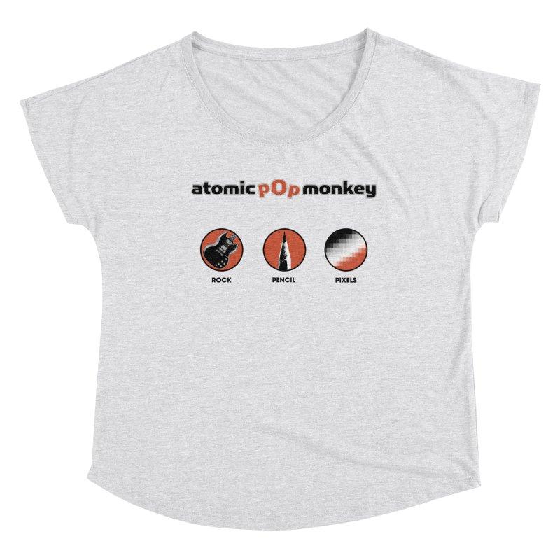 Atomic Pop Monkey - Rock / Pencil / Pixels Women's Scoop Neck by atomicpopmonkey's Artist Shop