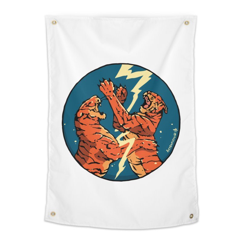 Tigers Fighting Home Tapestry by Attention®