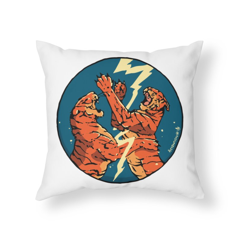 Tigers Fighting Home Throw Pillow by Attention®