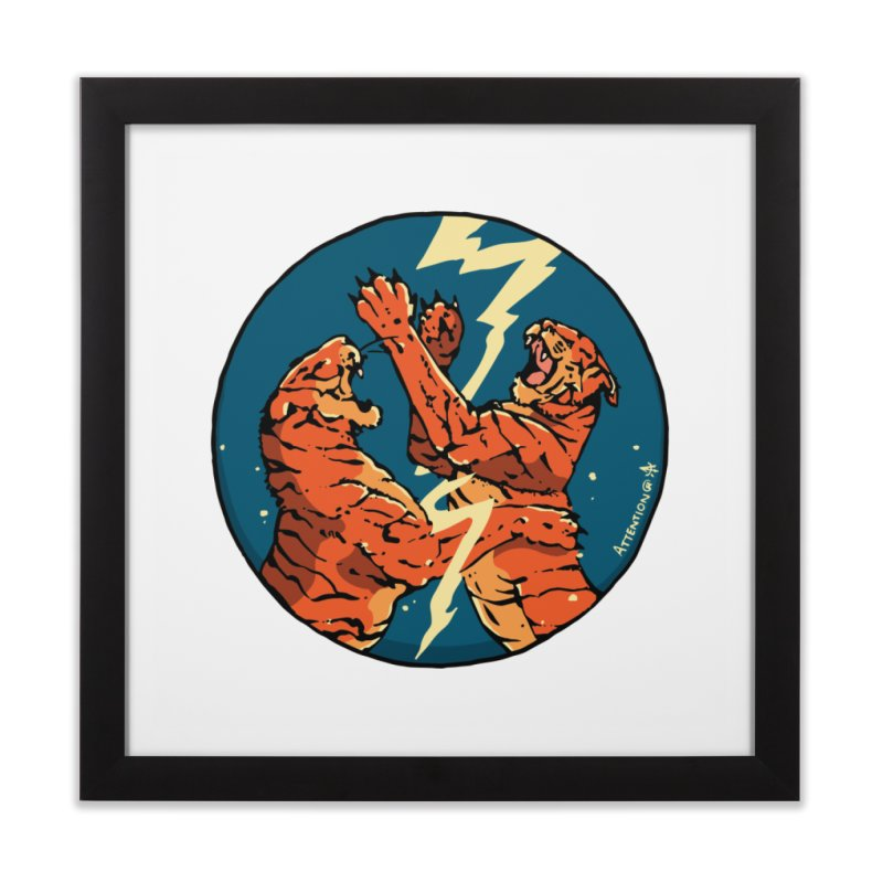 Tigers Fighting Home Framed Fine Art Print by Attention®