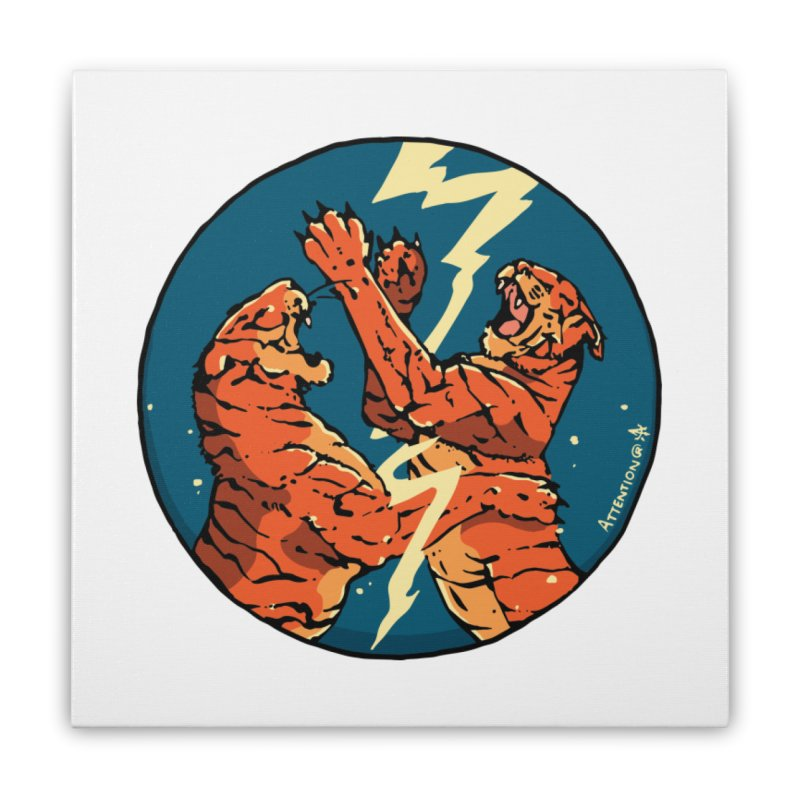 Tigers Fighting Home Stretched Canvas by Attention®
