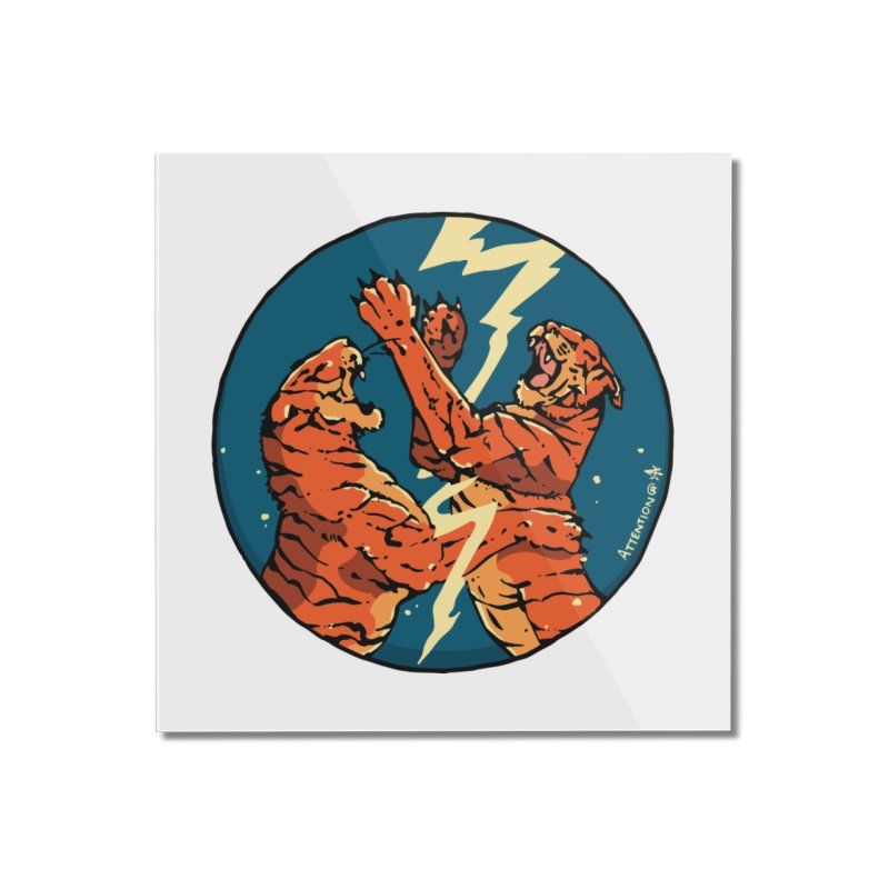 Tigers Fighting Home Mounted Acrylic Print by Attention®