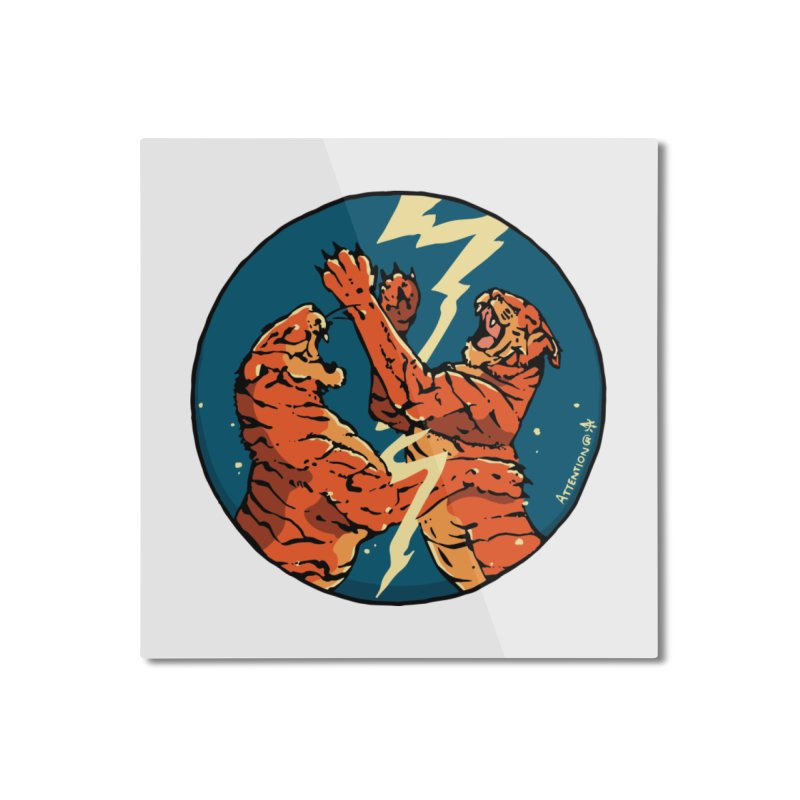 Tigers Fighting Home Mounted Aluminum Print by Attention®