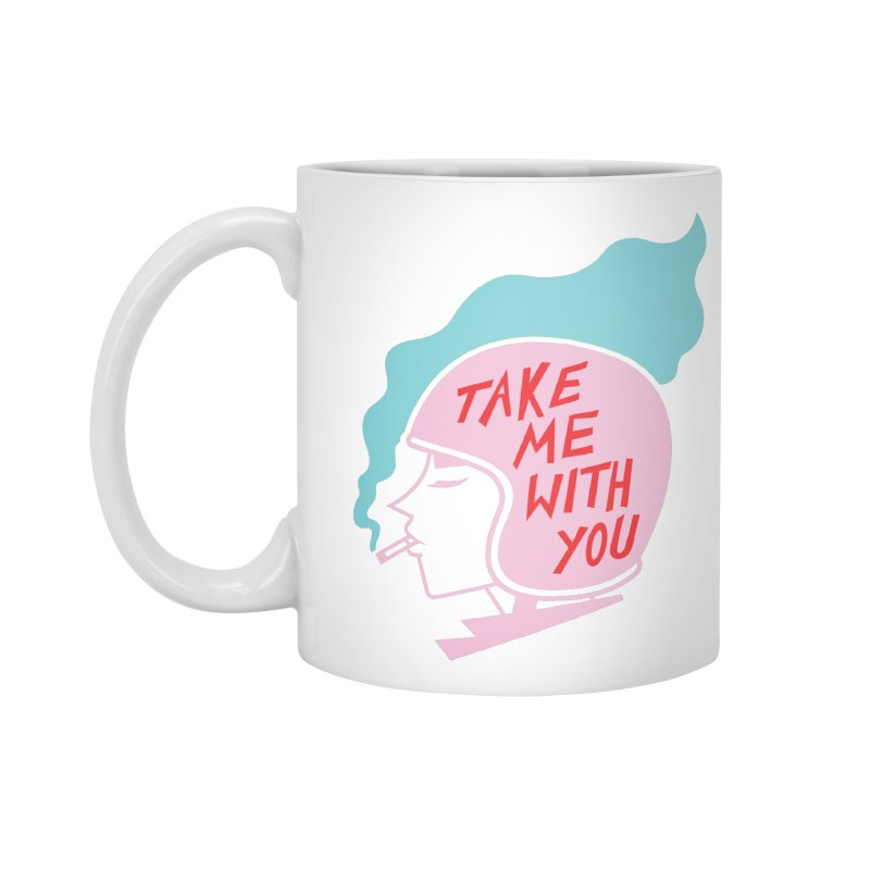 Take Me With You (Pink on White) Accessories Standard Mug by audreyhansa's Artist Shop