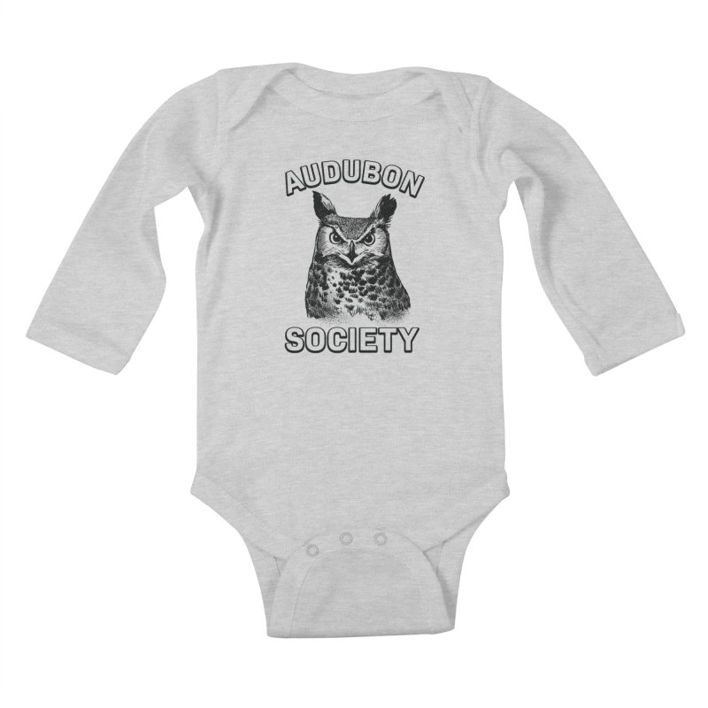 Vintage Owl Kids Baby Longsleeve Bodysuit by Official National Audubon Society Retail Store