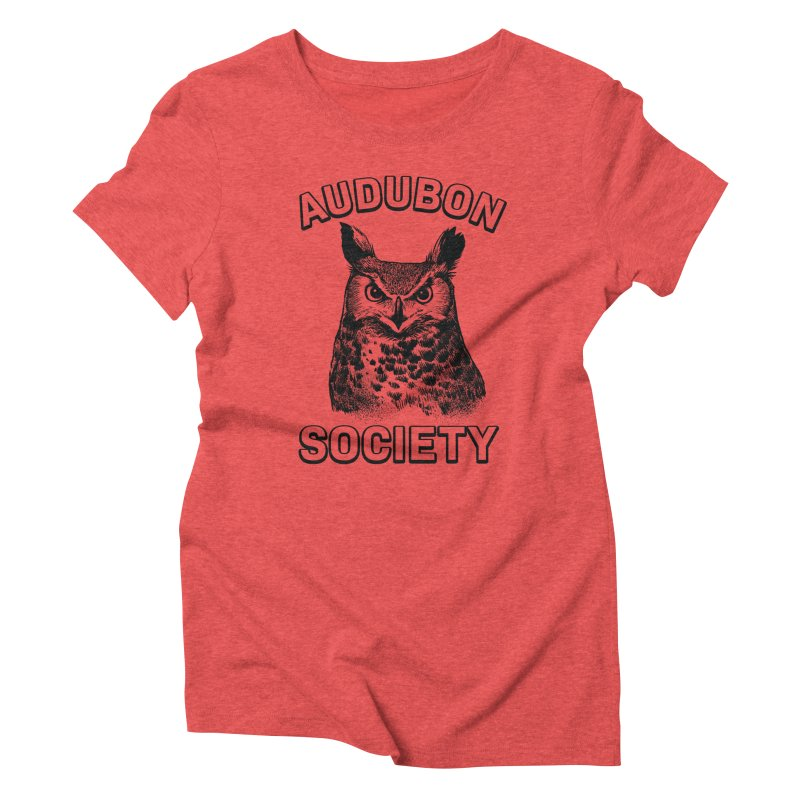 Vintage Owl in Women's Triblend T-Shirt Chili Red by Official National Audubon Society Retail Store