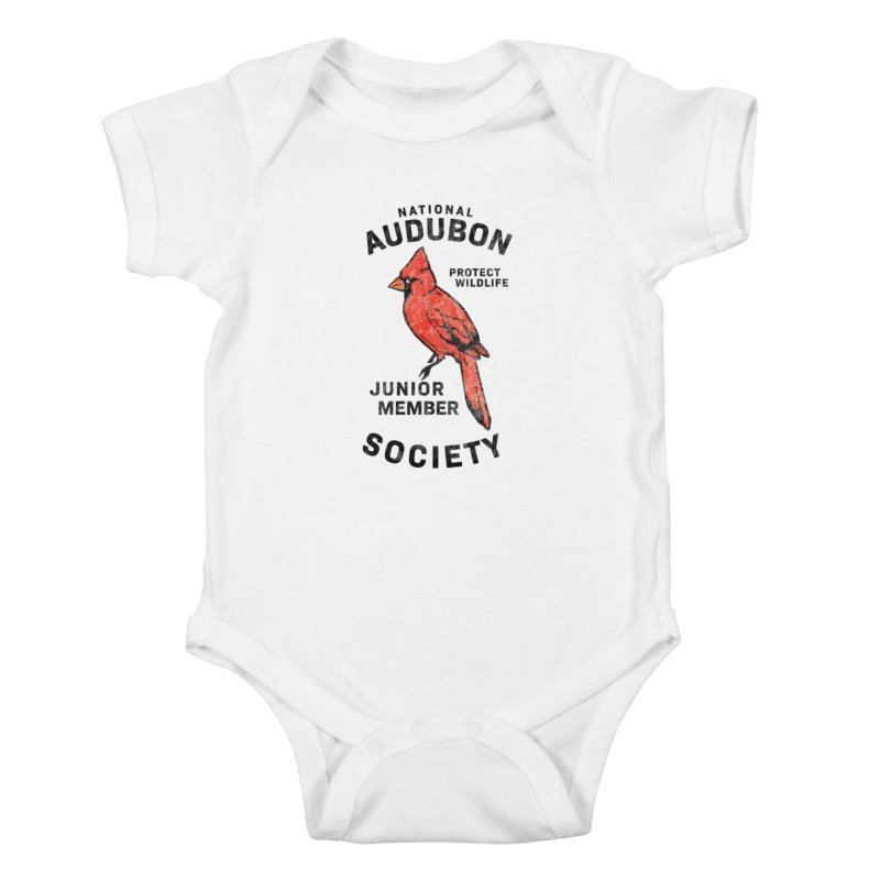 Vintage Cardinal Junior Member in Kids Baby Bodysuit White by Official National Audubon Society Retail Store