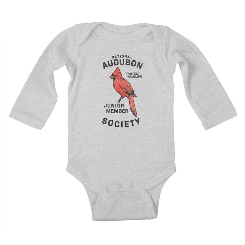 Vintage Cardinal Junior Member in Kids Baby Longsleeve Bodysuit Heather Grey by Official National Audubon Society Retail Store