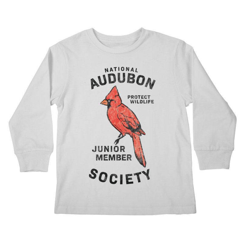 Vintage Cardinal Junior Member in Kids Longsleeve T-Shirt Heather Grey by Official National Audubon Society Retail Store