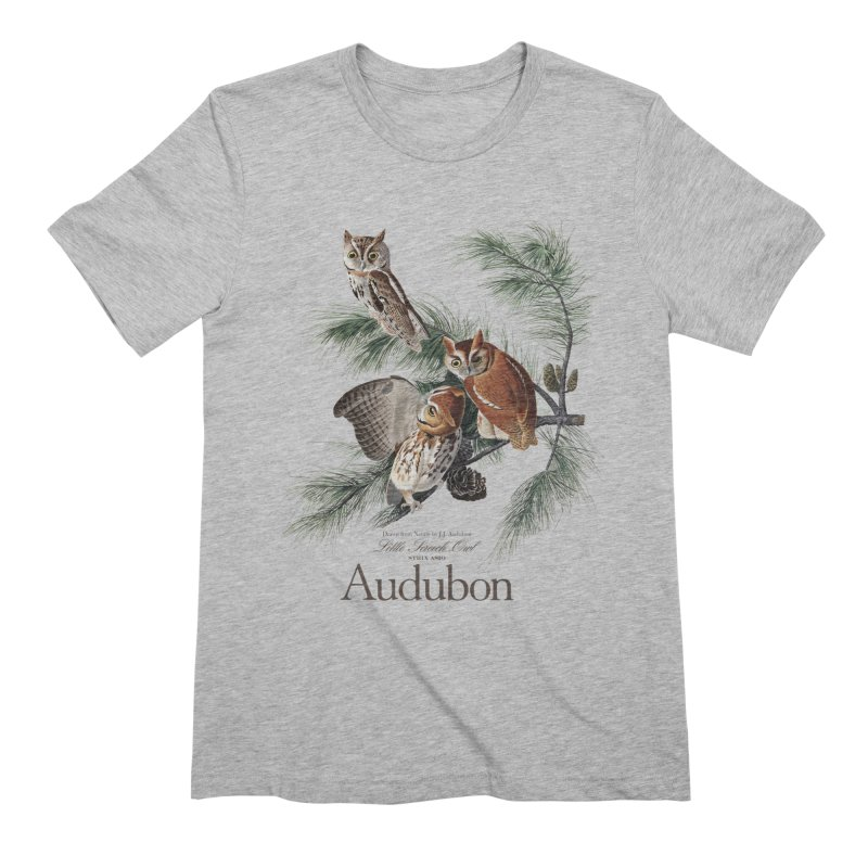 John James Audubon Screech Owls in Men's Extra Soft T-Shirt Heather Grey by Official National Audubon Society Retail Store