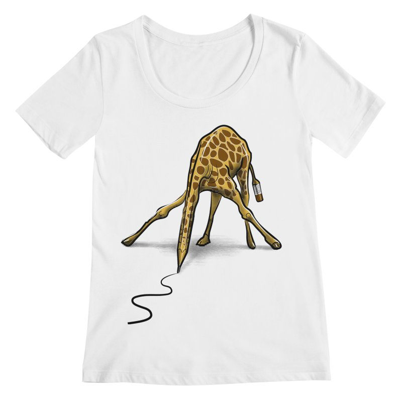 Draw-raffe Women's Regular Scoop Neck by auntspray's Artist Shop
