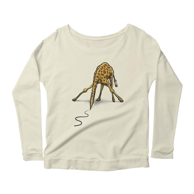 Draw-raffe Women's Scoop Neck Longsleeve T-Shirt by auntspray's Artist Shop