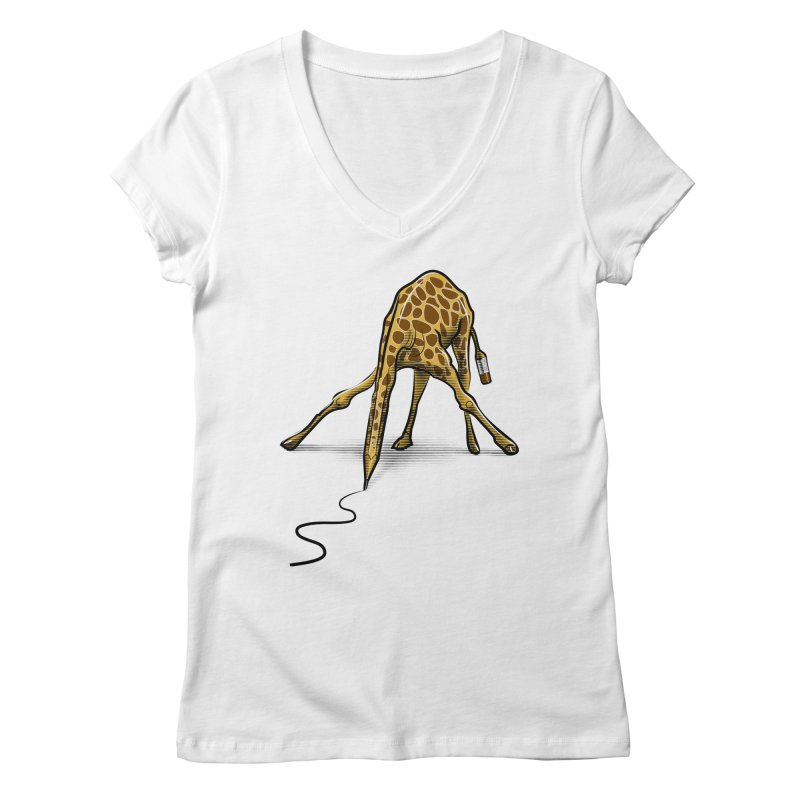 Draw-raffe Women's Regular V-Neck by auntspray's Artist Shop