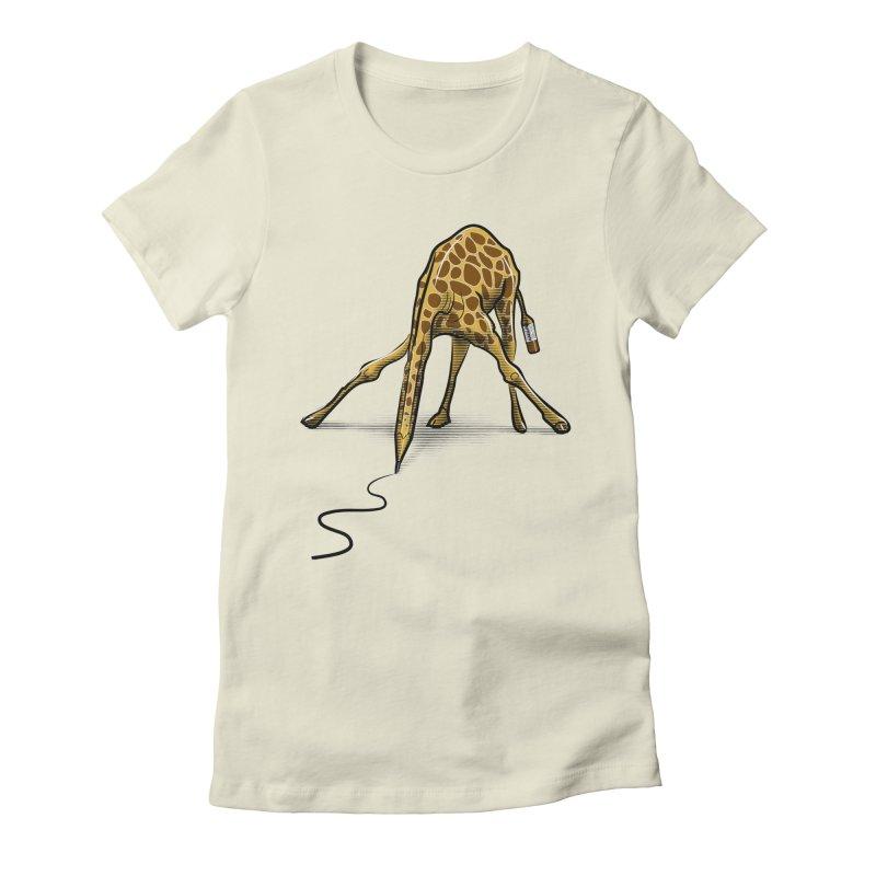 Draw-raffe Women's Fitted T-Shirt by auntspray's Artist Shop