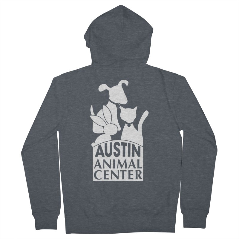 AAC Logo: White Women's Zip-Up Hoody by Austin Animal Center Shop
