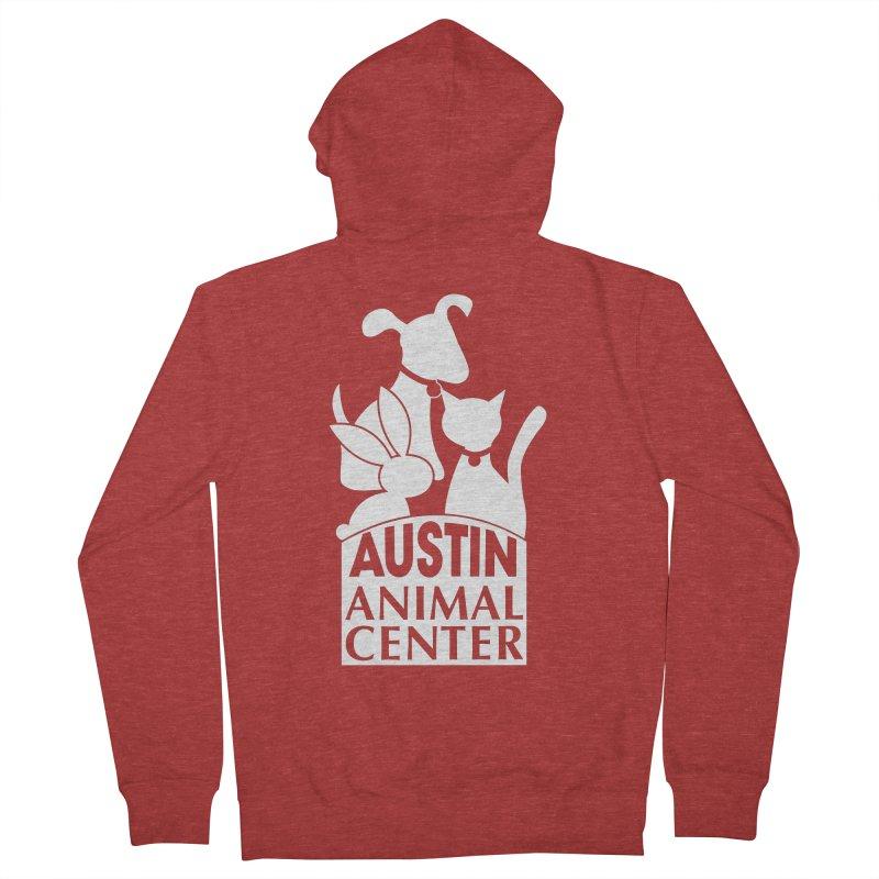 AAC Logo: White Women's Zip-Up Hoody by Austin Animal Center Shop