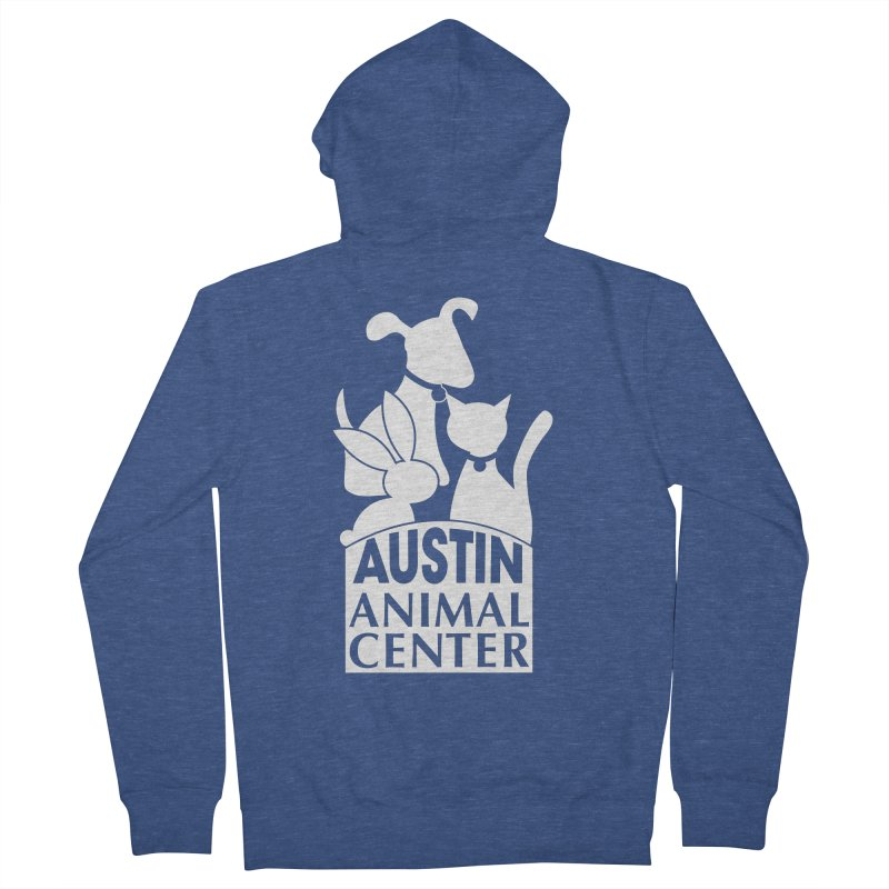 AAC Logo: White Men's Zip-Up Hoody by Austin Animal Center Shop