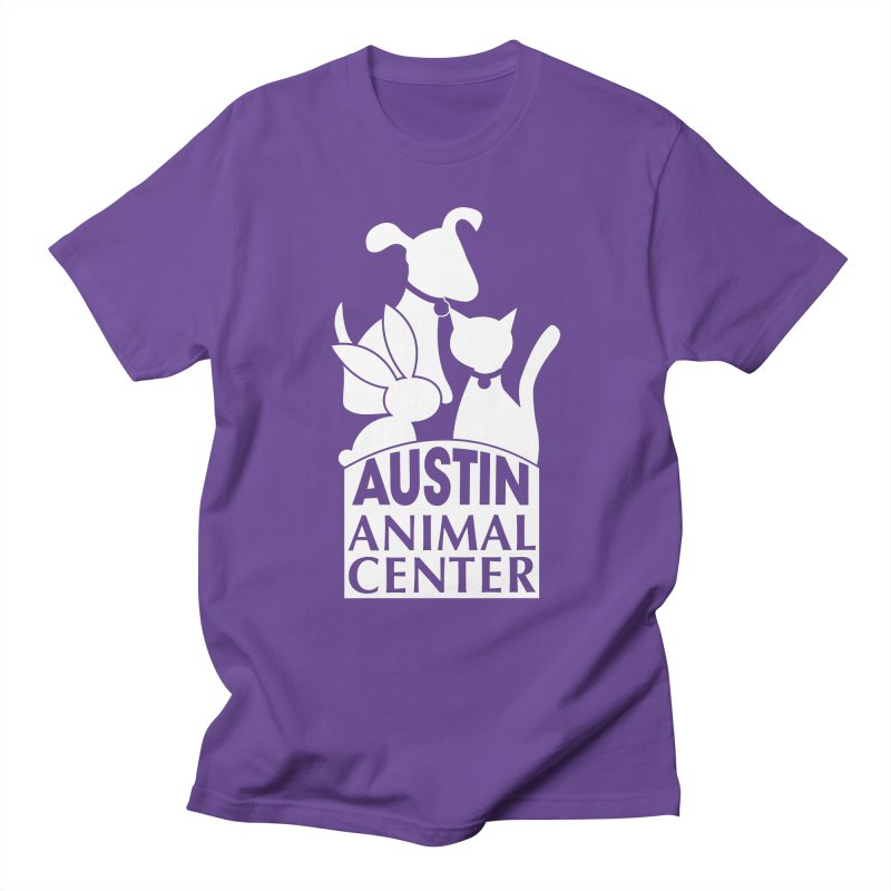 AAC Logo: White in Women's Regular Unisex T-Shirt Purple by Austin Animal Center Shop