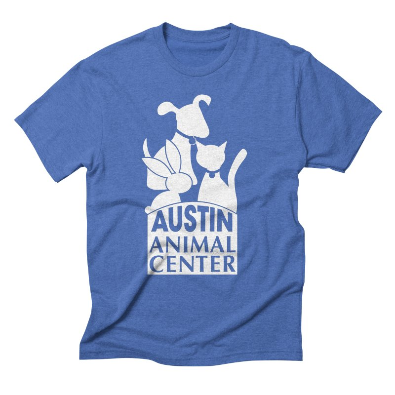 AAC Logo: White Men's Triblend T-shirt by Austin Animal Center Shop