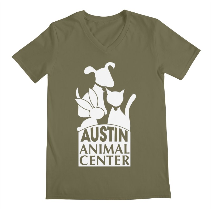 AAC Logo: White Men's V-Neck by Austin Animal Center Shop
