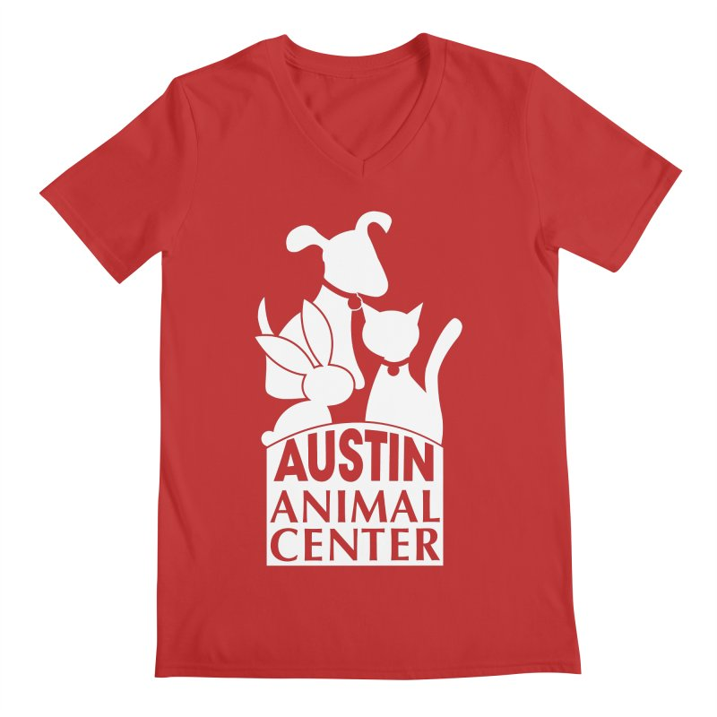 AAC Logo: White Men's V-Neck by Austin Animal Center Shop