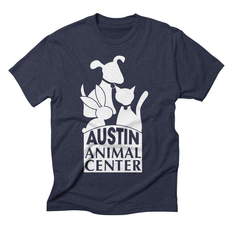 AAC Logo: White Men's Triblend T-shirt by Austin Animal Center Shop