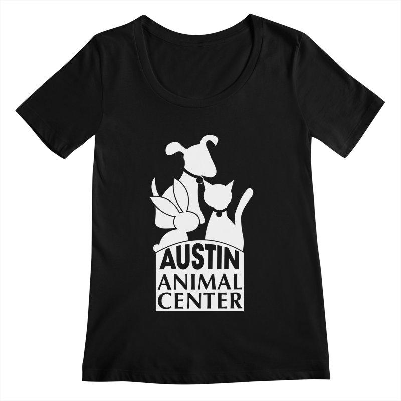 AAC Logo: White Women's Scoopneck by Austin Animal Center Shop