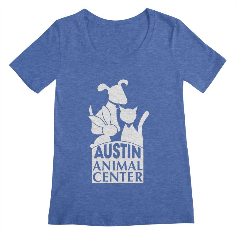 AAC Logo: White Women's Scoopneck by Austin Animal Center Shop