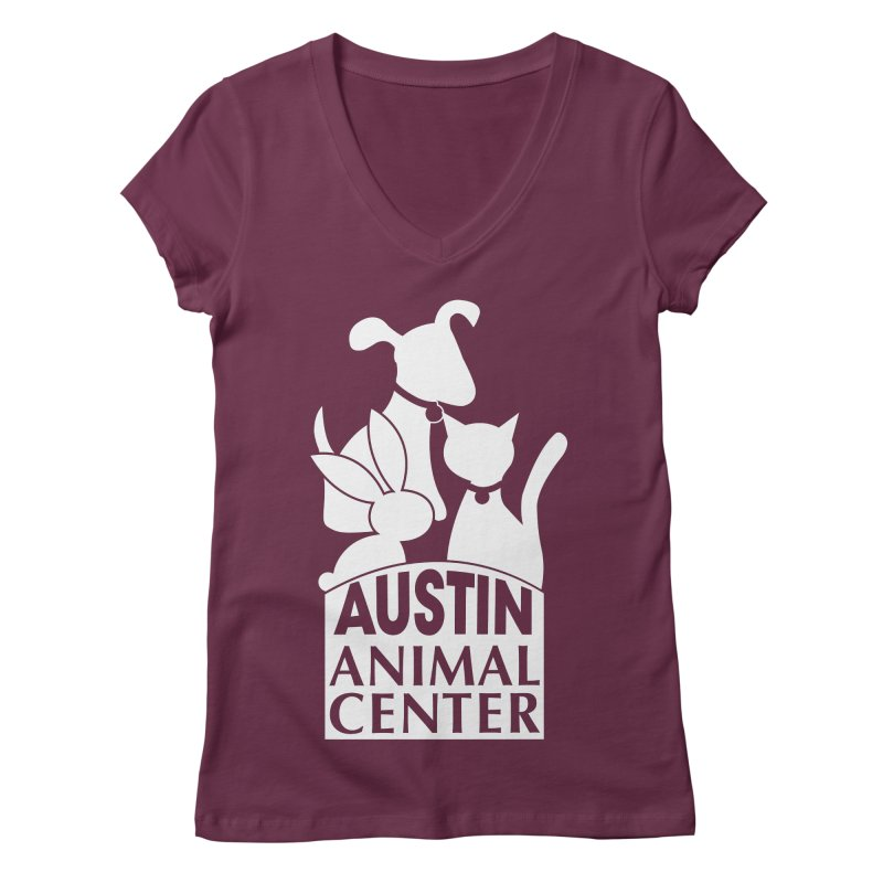 AAC Logo: White Women's V-Neck by Austin Animal Center Shop