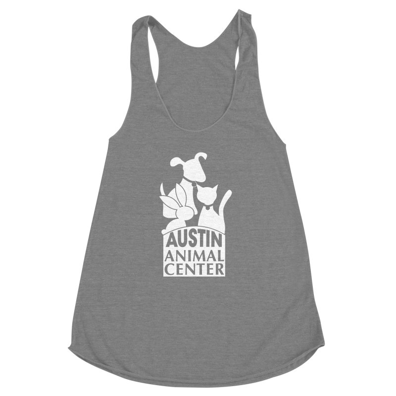 AAC Logo: White Women's Racerback Triblend Tank by Austin Animal Center Shop