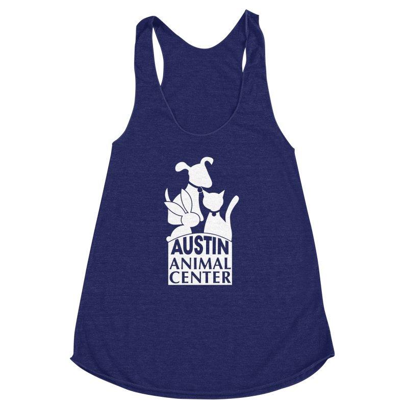 AAC Logo: White Women's Racerback Triblend Tank by Austin Animal Center Shop